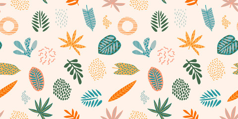 Abstract seamless pattern with tropical leaves. Hand draw texture. Vector.