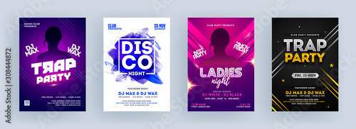 Trap Party, Disco Night and Ladies Night Party Flyer Design in Four Color Background. - 308444872