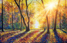 Original Hand Painted Autumn Oil Painting On Canvas. Sunny Autumn Dark Trees In Gold Autumn Forest Park Wood Alley Impressionism Art