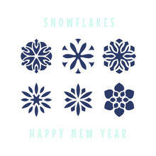 Vector Snowflakes. Merry Christmas And New Year Design. Perforation Holes For Laser Cutting. Decal.