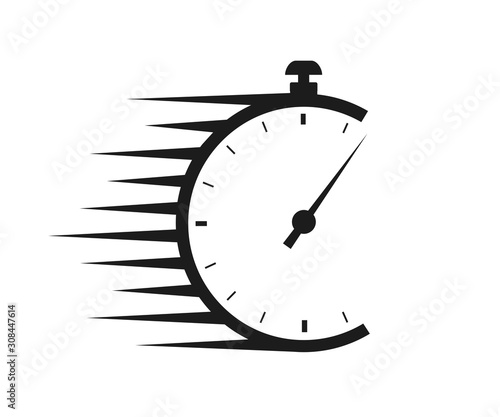 Fototapeta Fast delivery icon with timer. Fast stopwatch line icon. Fast delivery shipping service sign. Speed clock symbol urgency, deadline, time management, competition sign – stock vector obraz