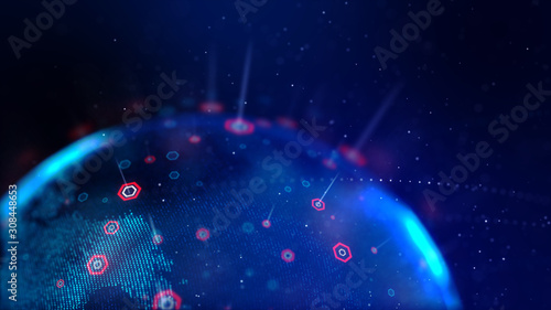 Fototapeta  Abstract background dot blue world map with hexagon shape for a cyber futuristic