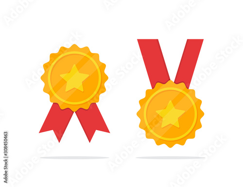 Fotografia Set of golden medal with star icon in a flat design