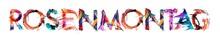 Banner Rosenmontag - Schriftzug Mit Bunten Buchstaben