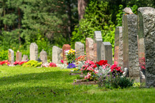 Curved Row Of Grave Stones Wit...