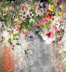 FototapetaAbstract art colorful flowers painting. Spring multicolored illustration.
