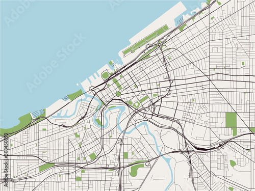 Obraz na plátně map of the city of Cleveland, Ohio, USA