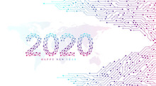 Text Design Christmas And Happy New Year 2020. Graphic Background Communication 2020. Connected Lines With Dots. Computer Motherboard Vector Background With Circuit Board Electronic Elements