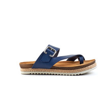 Blue Leather Men's Summer Sandals Isolate On A White Background, Side View.