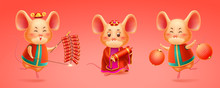 Rat Celebrating 2020 Chinese New Year Or Mouse With Hat And Fireworks, Red Lantern Or Salute, Kite. Korea And Vietnam, Singapore Festival Or Asian Festive, China Celebration. Boy And Girl Mice. Lunar
