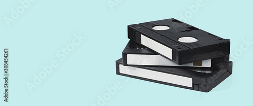 VHS video tapes on a blue background Fototapet