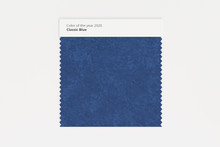 Classic Blue. The Color Of The Year 2020. Dark Blue Piece Of Fabric. Textile Swatch Mock-up. Trendy Color Palette. 3d Rendering.