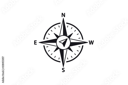 Obraz Compass Vector Icon. North, South, East and West indicated. Arrow Compass Icon - fototapety do salonu