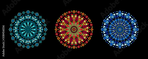 Obraz na plátně Stained glass illustration collection, circle shape pattern, rose window mandala ornament, tracery