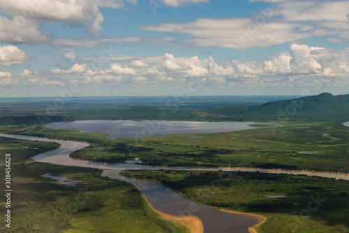 Plane view of the Pantanal in Mato Grosso do Sul, arriving in Corumba Fototapet