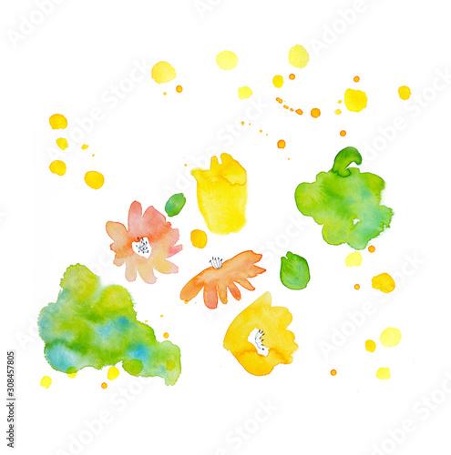 Fotografie, Tablou  水彩で描いた春の花と緑のイメージ