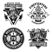 Fire Department Set Of Vector Isolated Emblems