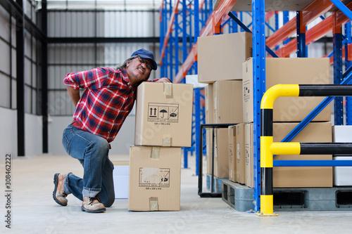Cuadros en Lienzo Asian worker man hurt his back .lift heavy box in factory