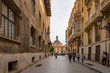 View from Carrer dels Cavallers on the Plaza de la Virgen in Valencia, Spain