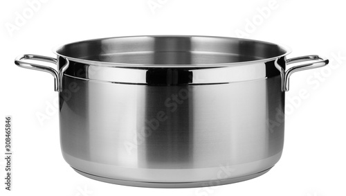 Stainless steel pot isolated on white background Fototapet