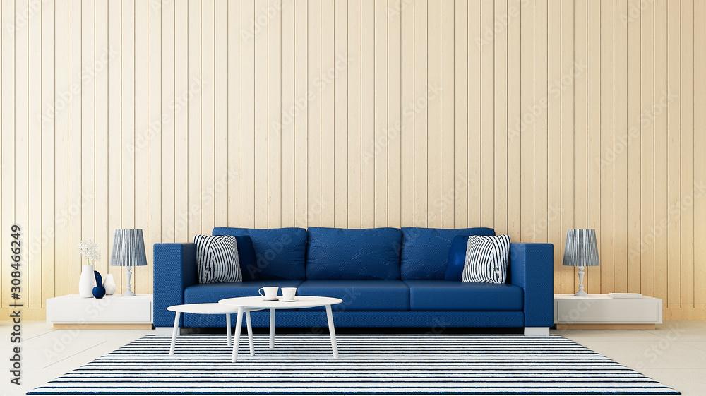 Fototapeta Classic blue wall living room / 3D rendering