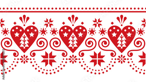 Scandinavian Christmas cute folk seamless vector pattern - long, horizontal repe Fotobehang