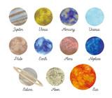 惑星水彩絵の具の質感