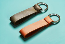 Set Of Handmade Leather Goods, Key Holder Rings, Wallet, Purse, Notepad, Handbook