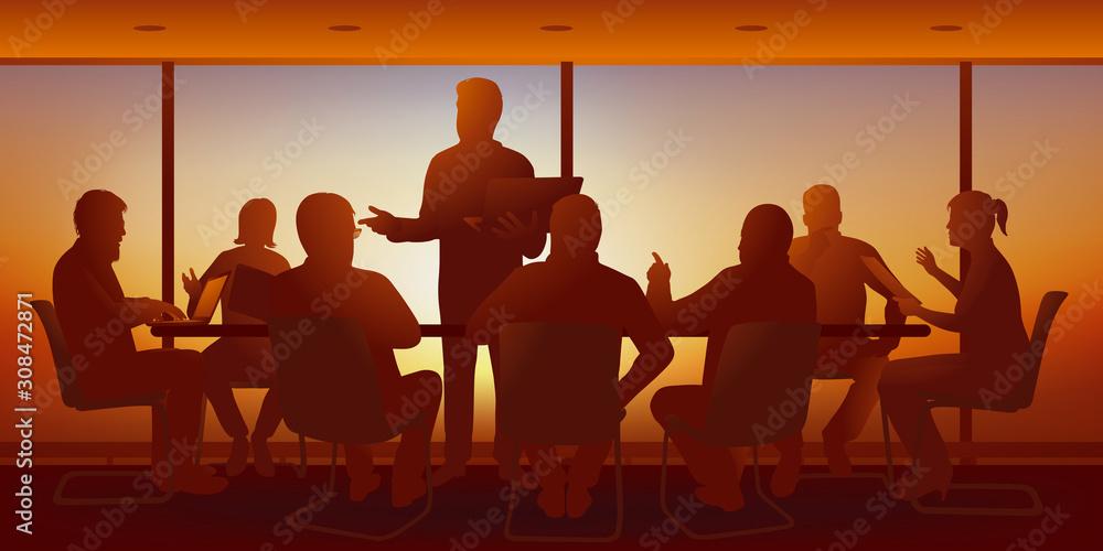 Fototapeta Concept du travail d'équipe avec les cadres dirigeants d'une entreprise qui discutent de la stratégie à prendre et cherchent des solutions au cours d'un brainstorming.