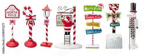 Obraz na plátně Set of Christmas Signs isolated on white background, Clipping path included