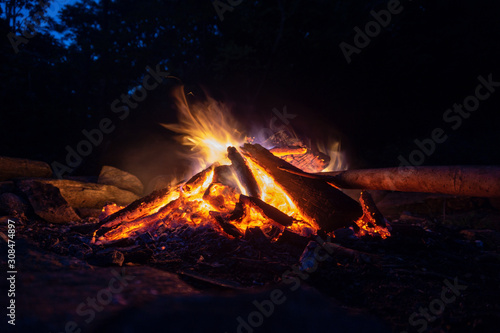 Blue and orange fire at night
