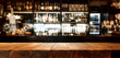 Wooden desk of bar and free space for your decoration.
