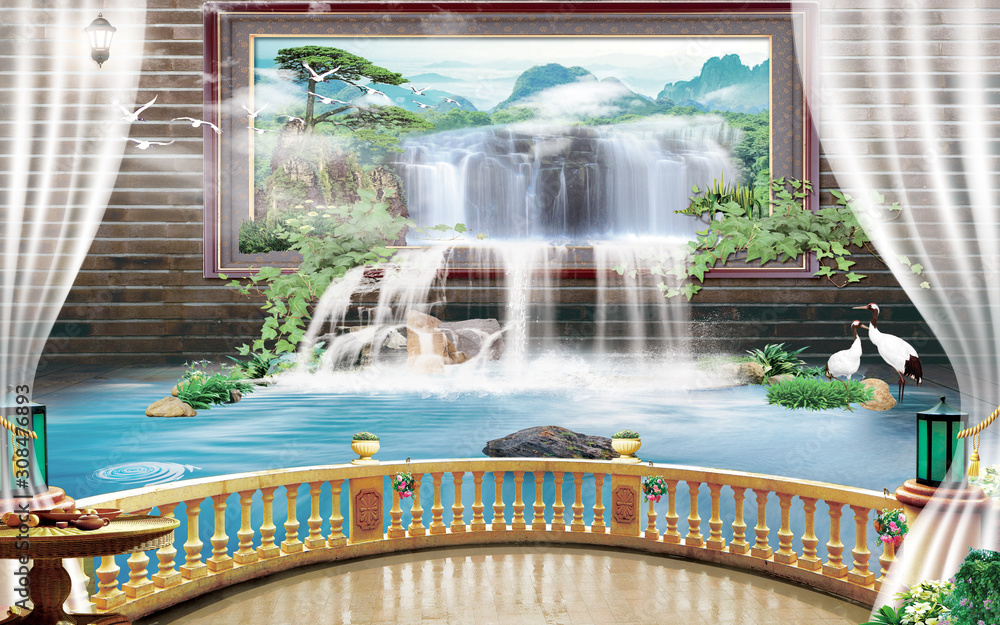 3d mural Beautiful view of landscape from the old arches, tree, sun, water , birds flowers and transparent curtains with flashlights