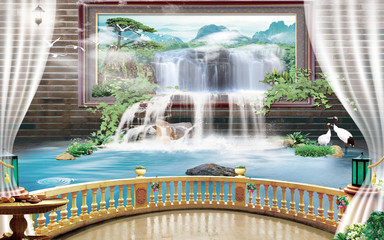 Panel Szklany Otwarte okna 3d mural Beautiful view of landscape from the old arches, tree, sun, water , birds flowers and transparent curtains with flashlights