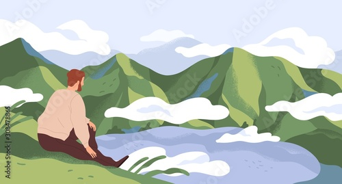 Cuadros en Lienzo Nature exploration and contemplation flat vector illustration