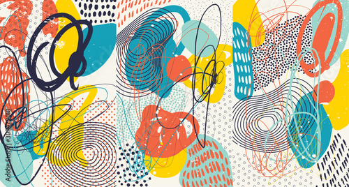 Creative doodle art header with different shapes and textures Canvas Print