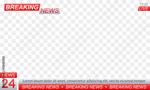 Fotomural Breaking news logo or banner for TV channel broadcasting