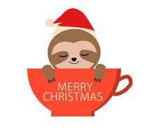 Cute Cartoon Sloth In Red Coff...