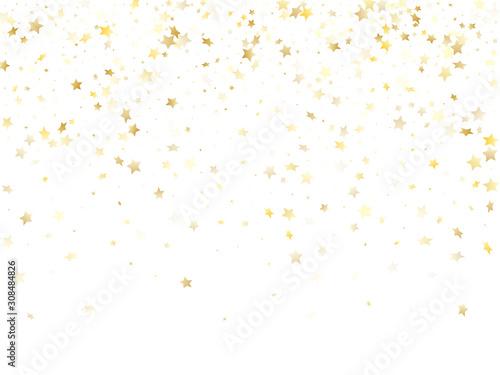 Obraz Flying gold star sparkle vector with white background. - fototapety do salonu