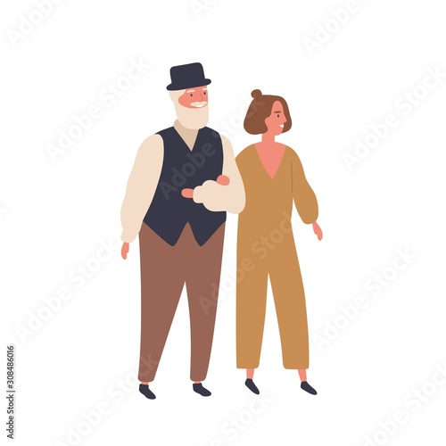 Fototapety, obrazy: Couple with a big age difference flat vector illustration. Smiling pair walking together, wife and husband. Relationship, love, age range concept. Aged man and young woman cartoon characters.