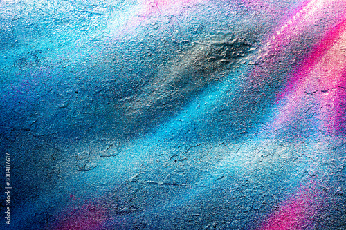 Fragment of colored graffiti painted on a wall. Bright abstract backdrop for design. - 308487617