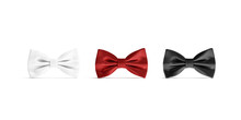 Blank Black, White And Red Bow Tie Mockup Set, Isolated