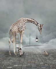 Fototapeta Pantera Find a friend – Surreal conceptual illustration of a giraffe meeting a baby chicken
