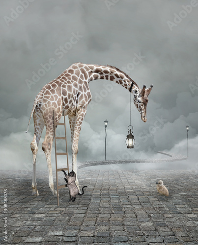Photo Find a friend – Surreal conceptual illustration of a giraffe meeting a baby chic