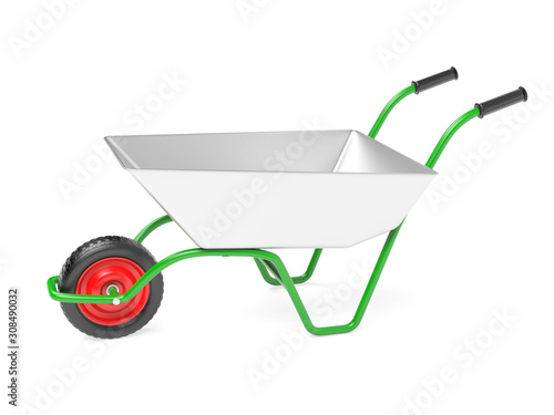 Photo Metal garden barrow. 3d rendering illustration