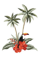 Red Hibiscus Flower, Tropical Palm Tree, Toucan Bird And Palm Leaves Illustration. Summer Jungle Floral Composition.
