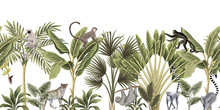 Tropical Vintage Wild Animals, Monkey, Sloth, Leopard, Lemur, Palm Tree, Banana Tree And Plant Floral Seamless Border White Background. Exotic Jungle Wallpaper.