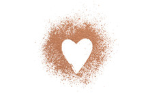 Heart Made Of Cocoa Powder Isolated On White Background