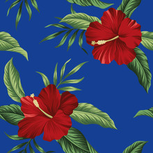 Tropical Vintage Red Flower Hibiscus Floral Green Palm Leaves Seamless Pattern Blue Background. Exotic Jungle Wallpaper.