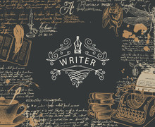 Vector Banner On A Writers The...